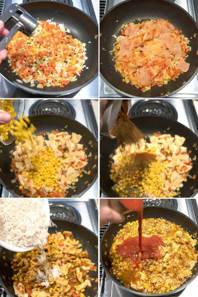 Adding Ingredients to make the Easy Cheesy Mexican Rice and Chicken
