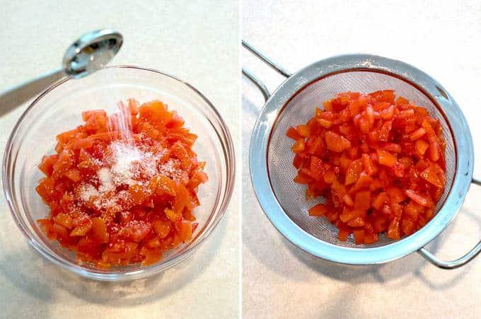 Salting the tomatoes for Pico de Gallo