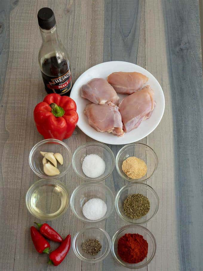 Ingredients for marinade for Grilled Peri Peri Chicken Burgers