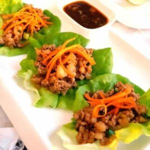 Easy Asian Chicken Lettuce Wraps with Spicy Dipping Sauce