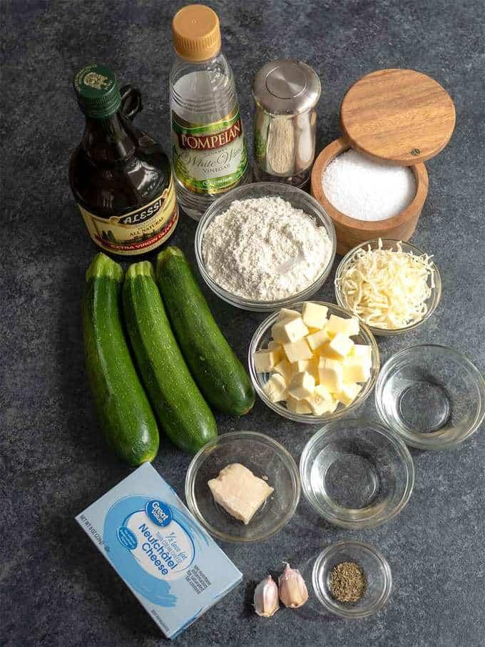 Ingredients for Three Cheese Zucchini Tart
