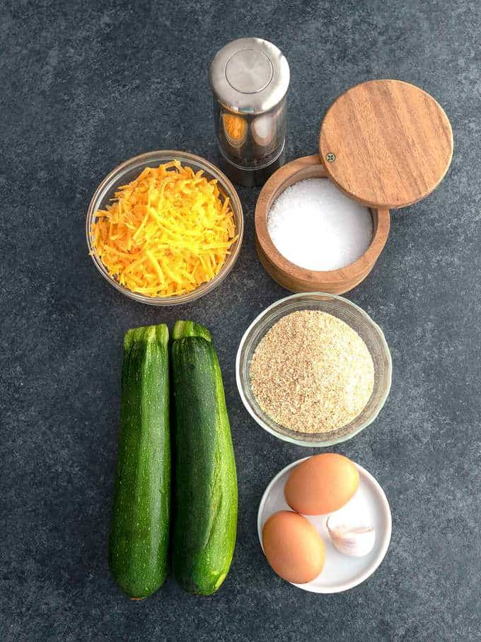 Ingredients for Easy Cheesy Zucchini Bites