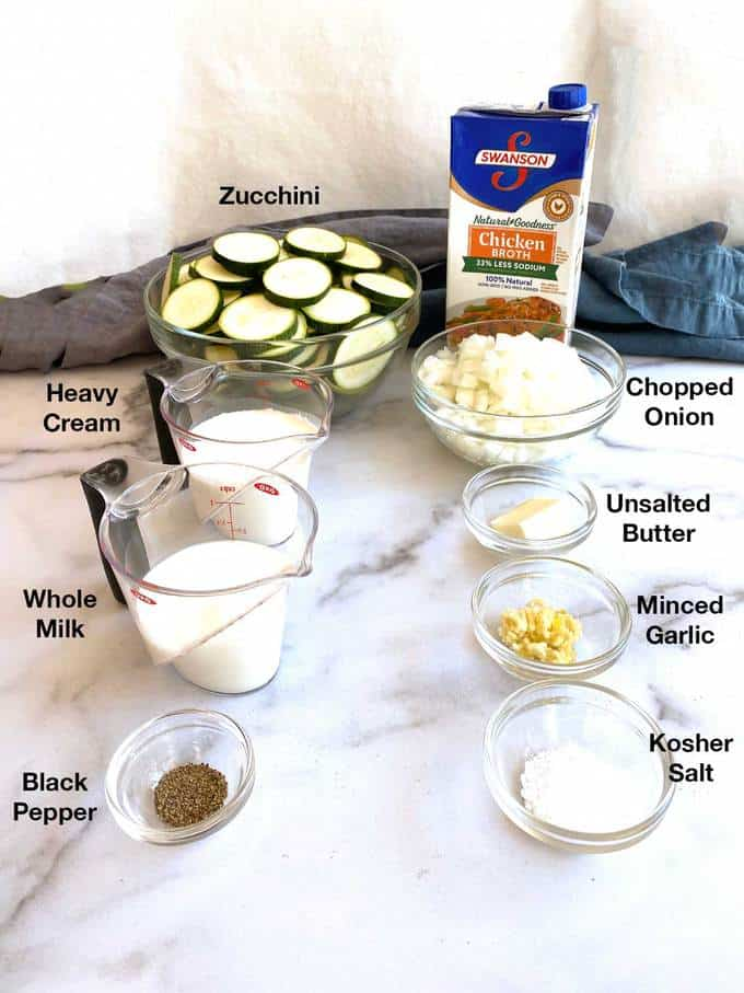 Ingredients for Easy Creamy Zucchini Soup