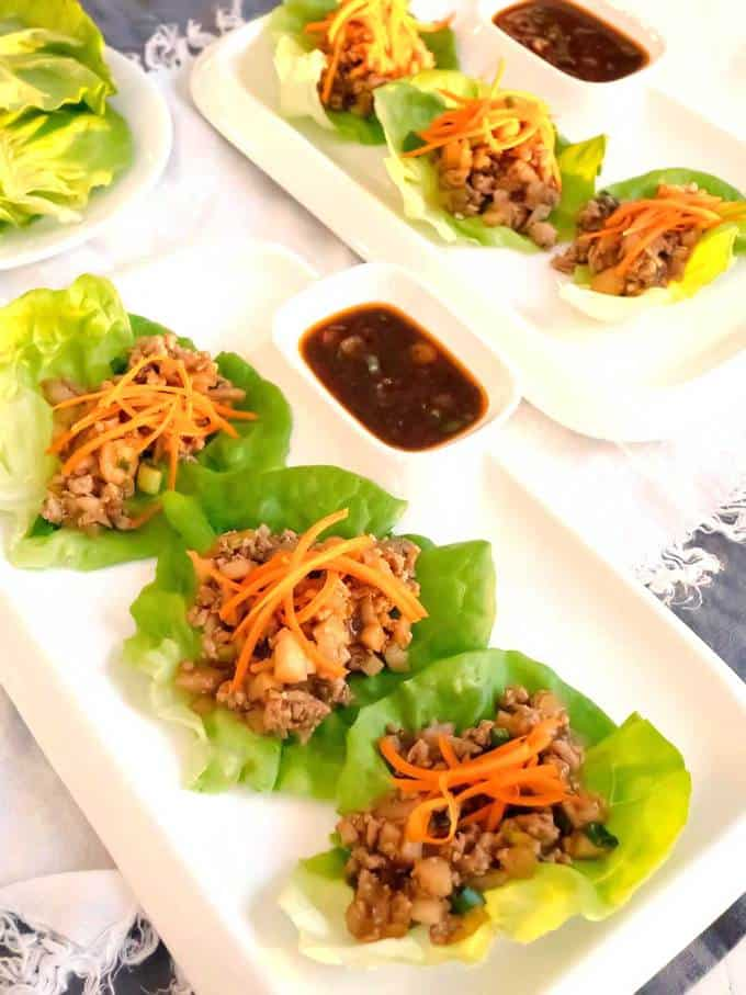Easy Asian Lettuce Wraps with Spicy Dipping Sauce