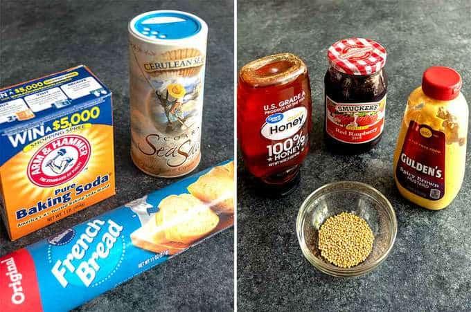 Ingredients for Easy Pretzel Bites with Raspberry Honey Mustard Dip