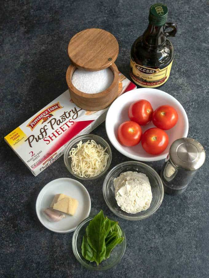 Ingredients for Fresh Tomato Ricotta Tart in Puff Pastry