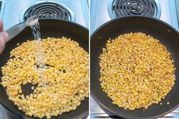 Cooking the corn for the Fresh Sweet Corn Fritters