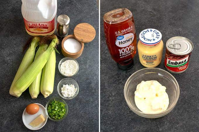 Ingredients for Fresh Sweet Corn Fritters with Honey Chipotle Sauce