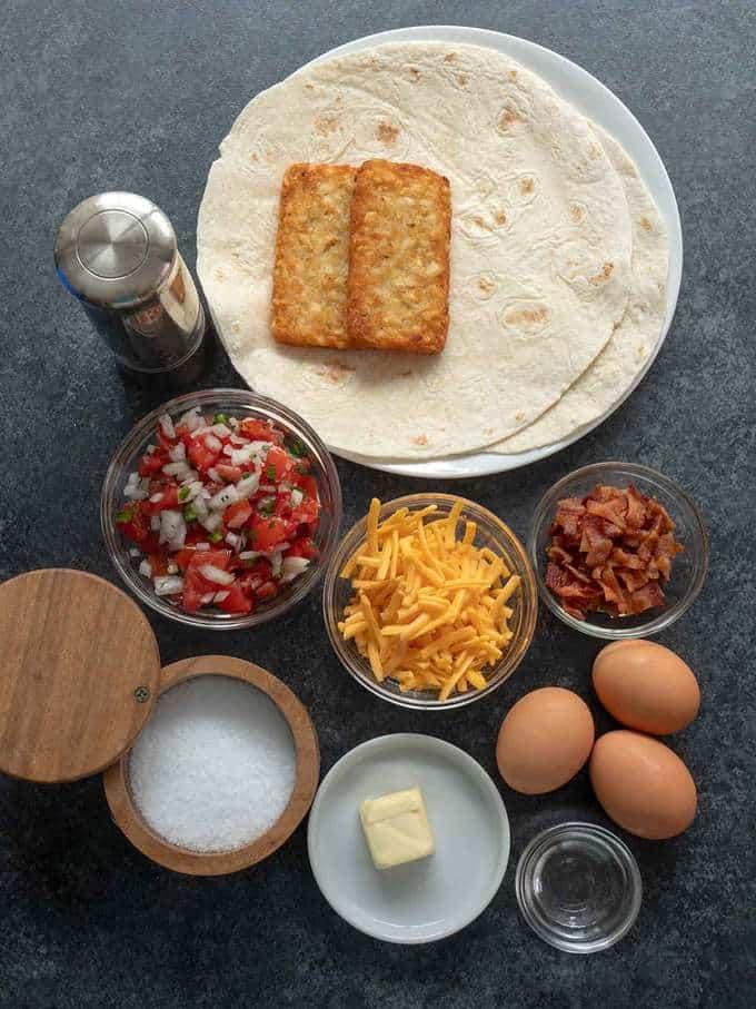 Ingredients for Tasty Breakfast Quesadilla Wrap
