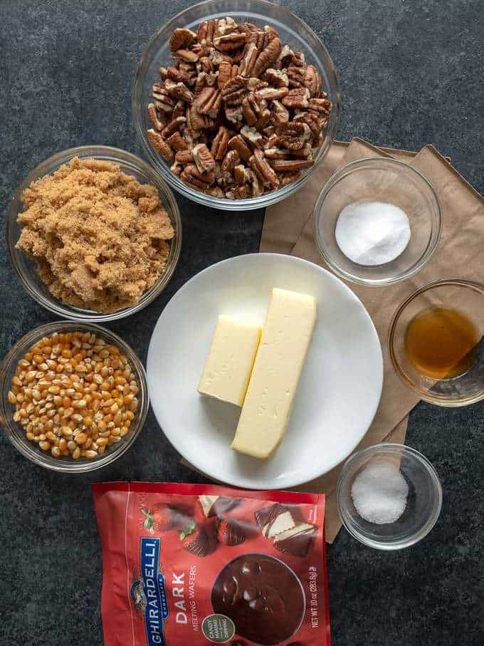 Ingredients for Chocolate Drizzled Caramel Pecan Crunch