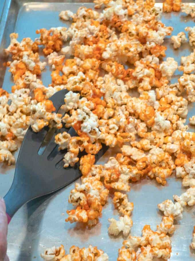 Baking the Orange Halloween Kettle Corn