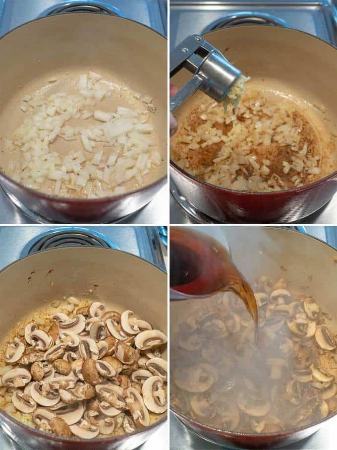 Cooking the vegetables for Easy Creamy Chicken Marsala Pasta