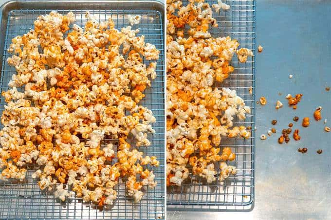 Orange Halloween Kettle Corn Cooling on Wire Rack