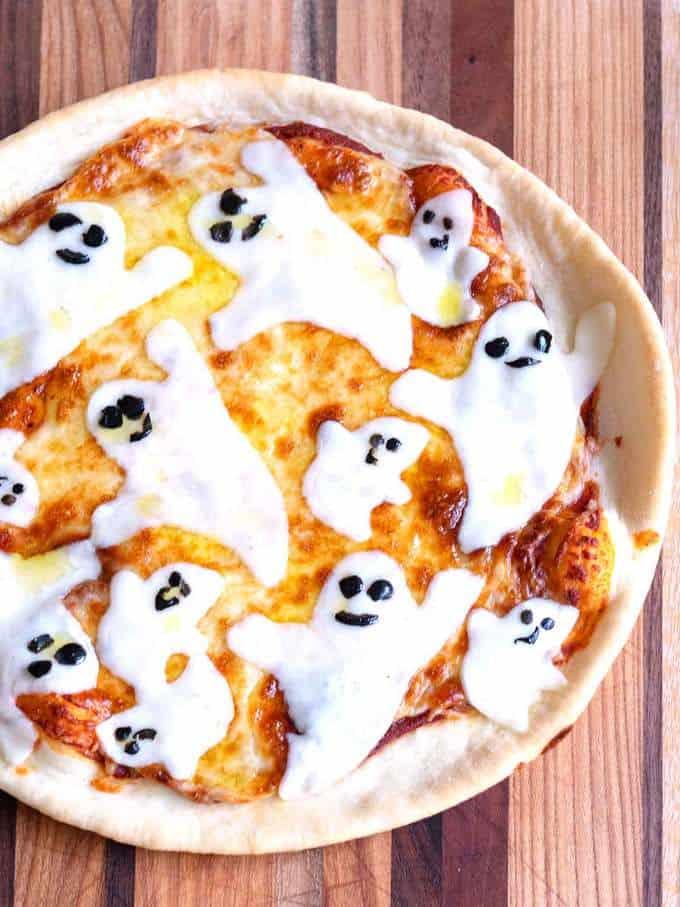 Halloween Cast-Iron Skillet Ghost Pizza