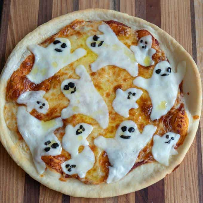 Halloween Themed Cast-Iron Skillet Pizza with Ghosts.