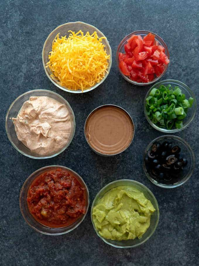 Ingredients for Spooky 8-Layer Taco Dip