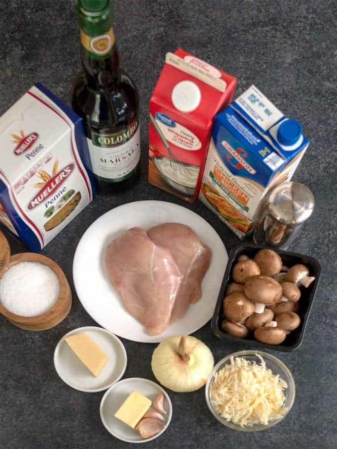 Ingredients for Easy Creamy Chicken Marsala Pasta