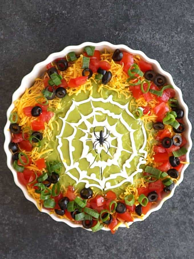 Spider on Spooky 8-Layer Taco Dip