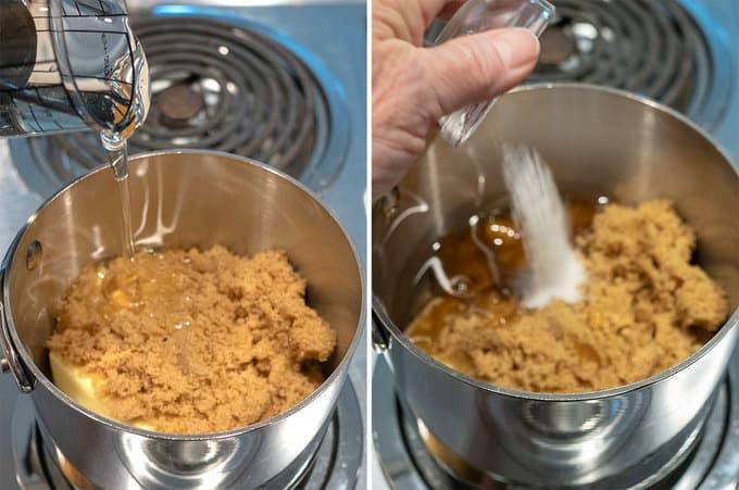 Adding Ingredients to Make the Caramel Sauce