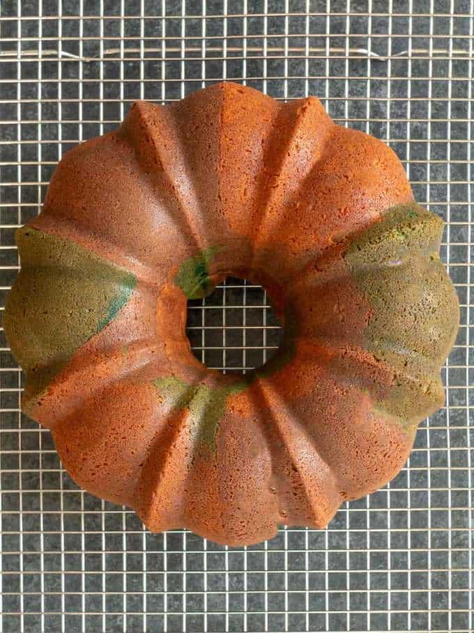 Cake Cooling for Halloween Surprise Bundt Cake