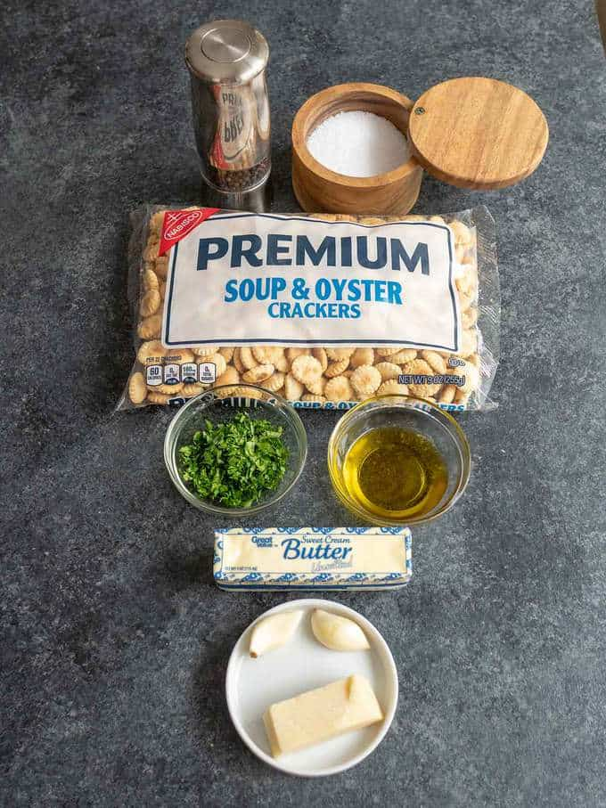 Ingredients for Parmesan Garlic Oyster Crackers