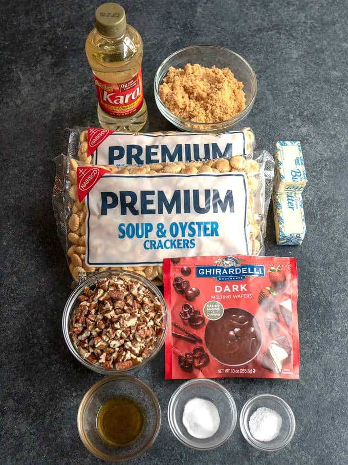 Ingredients for Chocolate Drizzled Caramel Oyster Crackers
