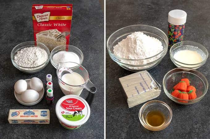 Ingredients for Halloween Surprise Bundt Cake