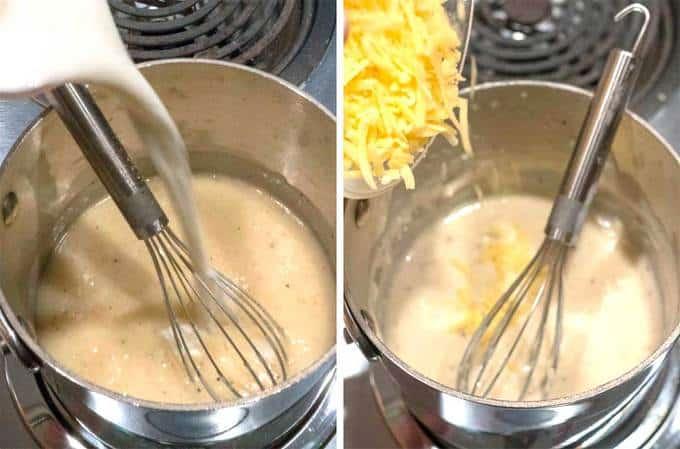 Making Sauce for Chicken Cordon Bleu Crepes