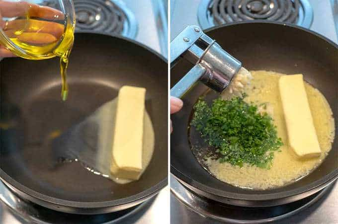 Melting Butter and Other Ingredients for Parmesan Garlic Oyster Crackers