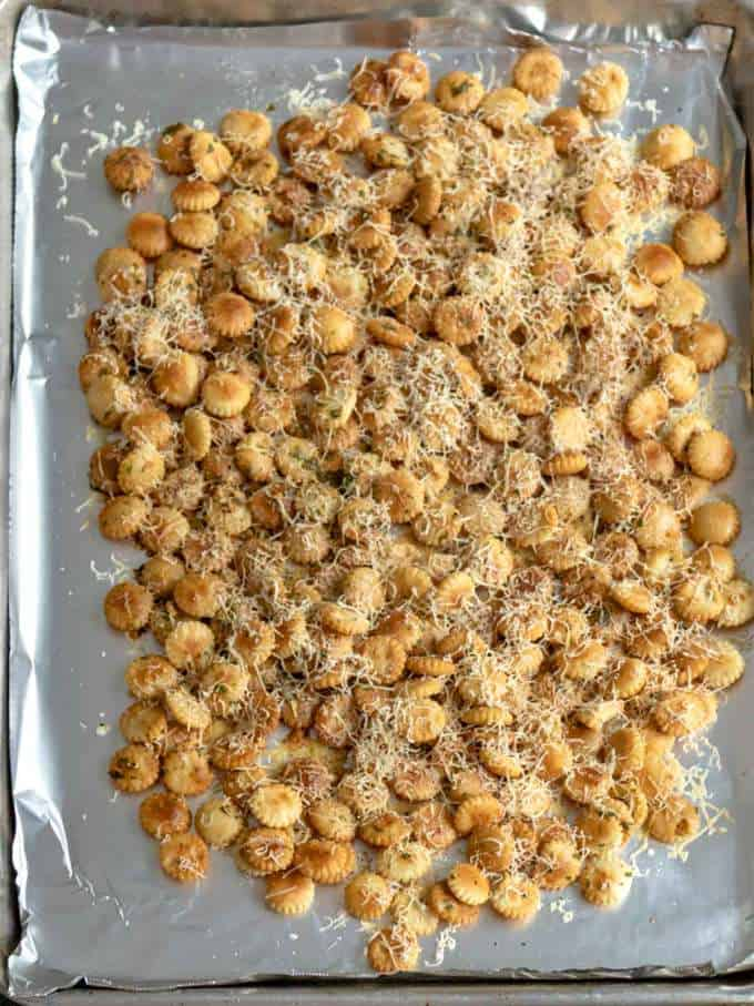 Parmesan Garlic Oyster Crackers Out of Oven