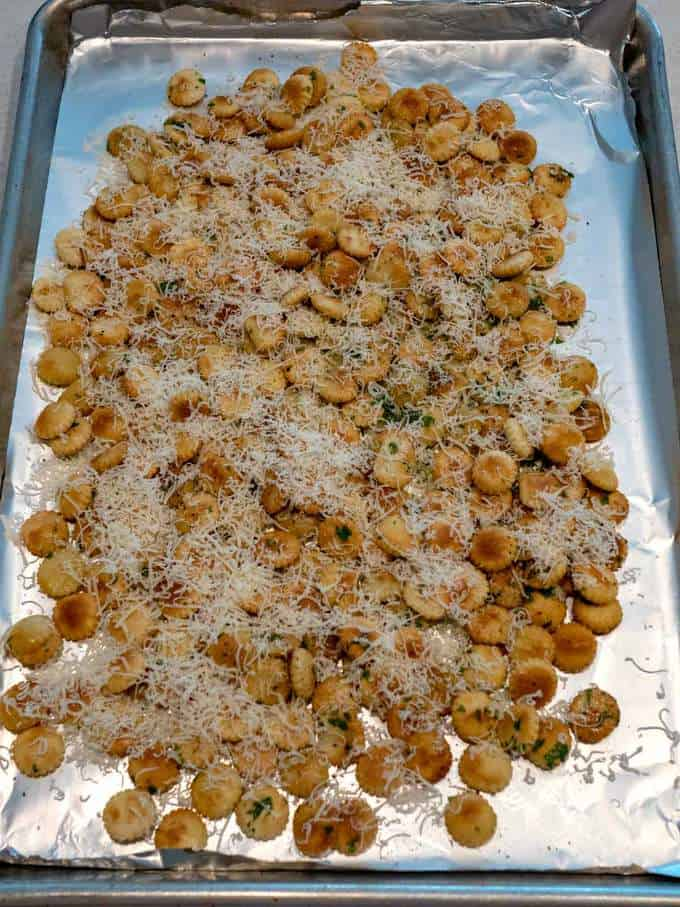 Parmesan Garlic Oyster Crackers Ready for Oven