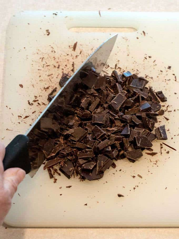 Chopping chocolate into chunks