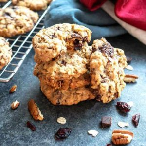 Chocolate Chunk Oatmeal Cookies with dried cranberries and toasted pecans