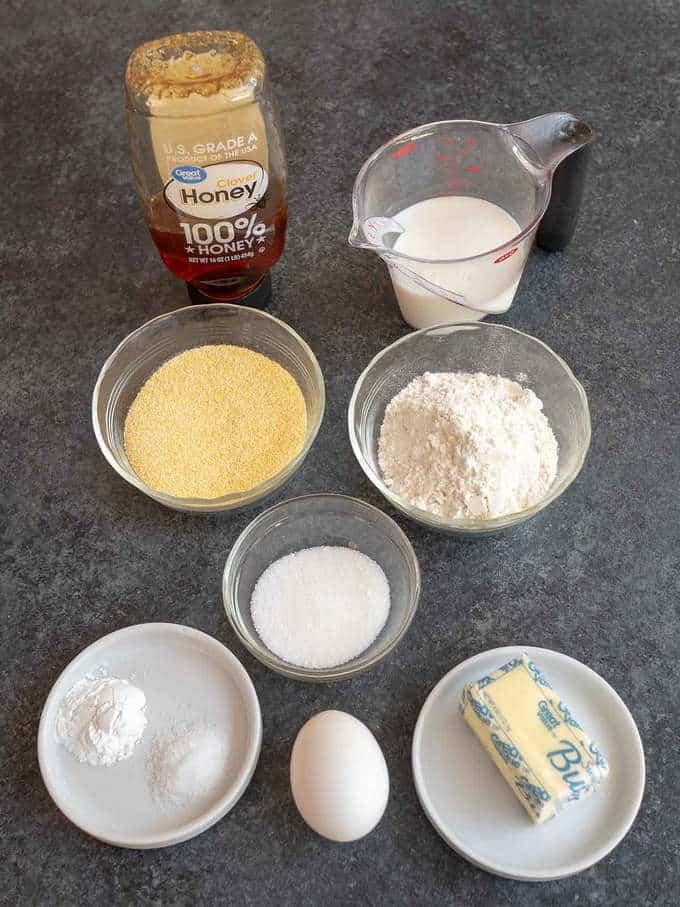 Ingredients for Honey Cornbread Muffins