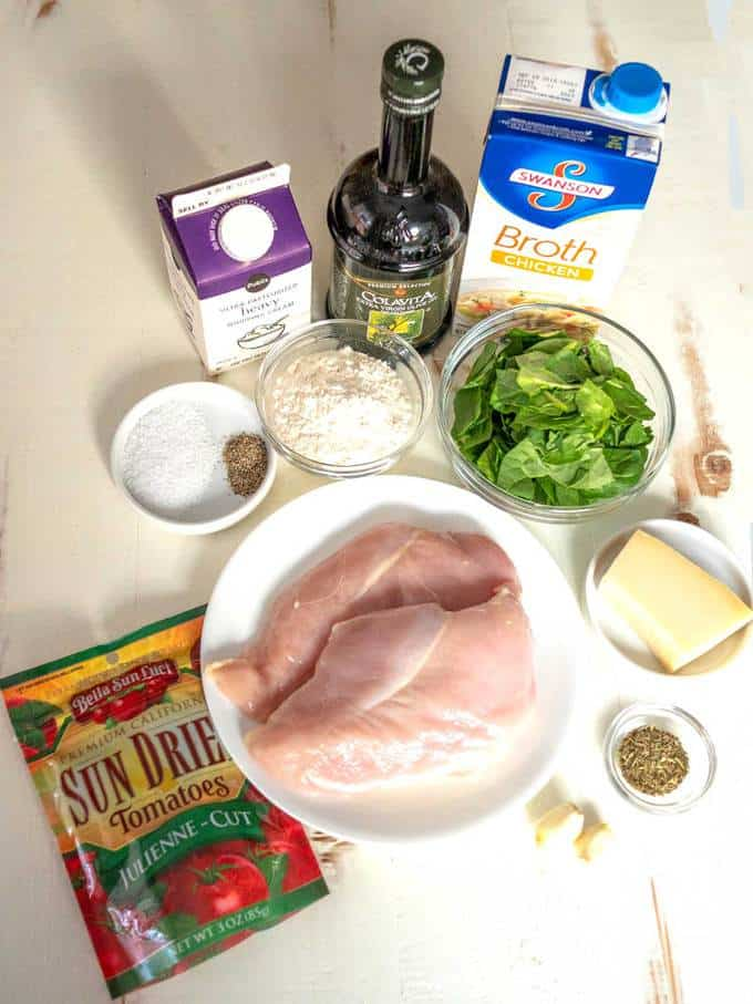 Ingredients for One Pot Creamy Tuscan Chicken