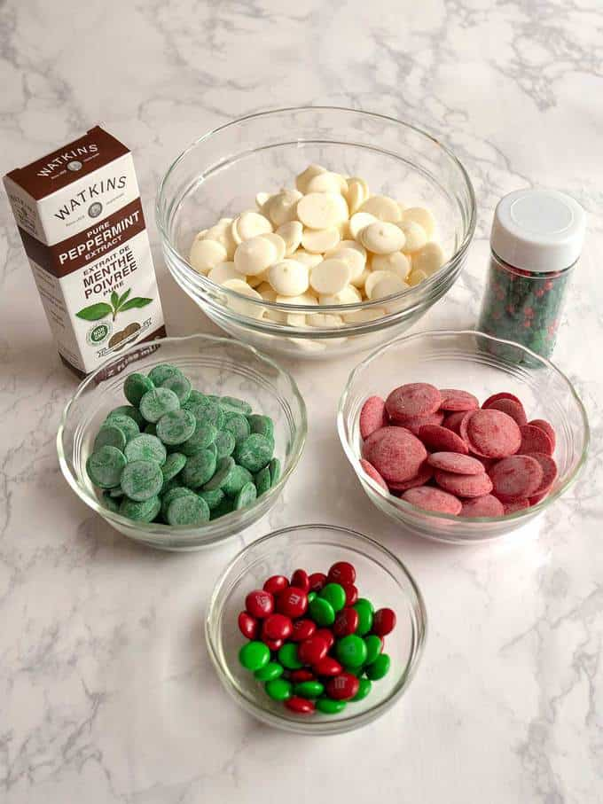 Ingredients for Christmas Swirled Peppermint Bark