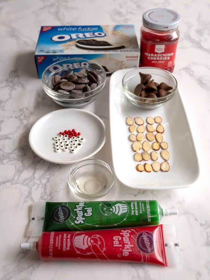 Ingredients for Chocolate Christmas Mice