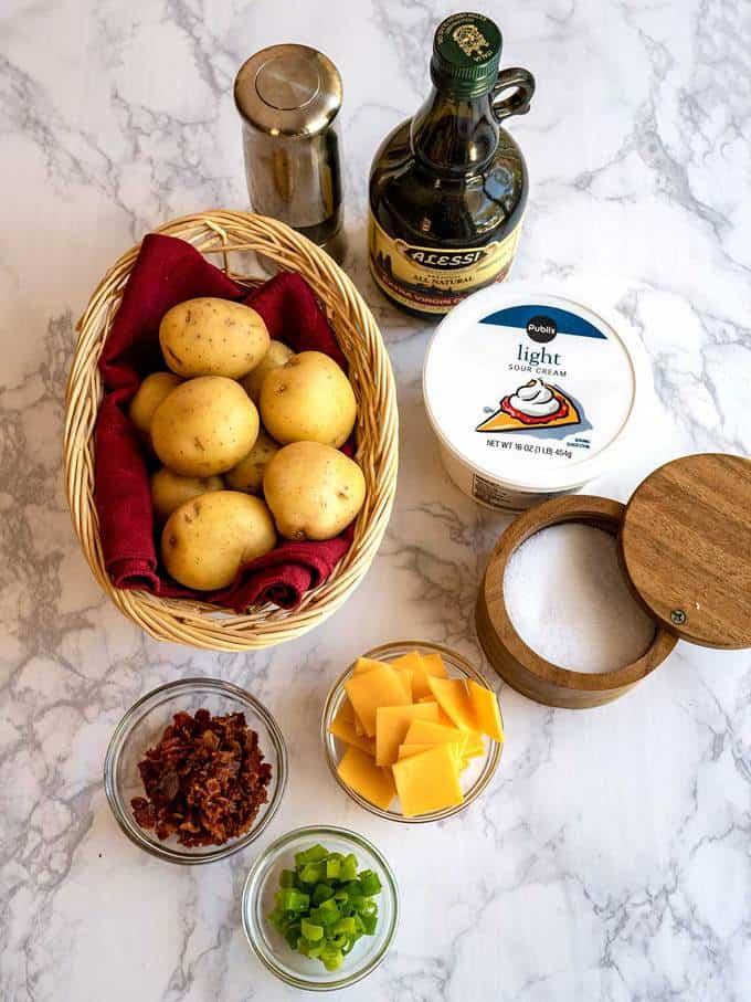 Ingredients for Loaded Hasselback Potato Bites