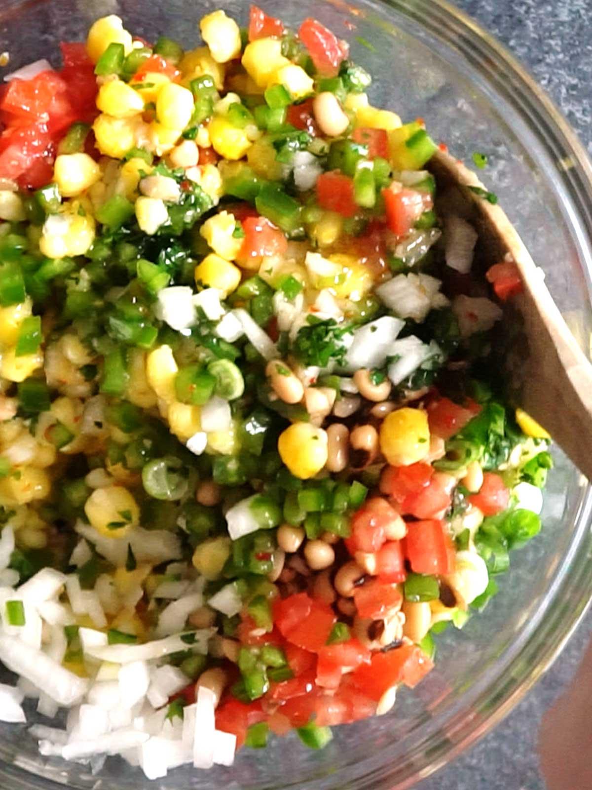 Stirring Ingredients for Texas Caviar