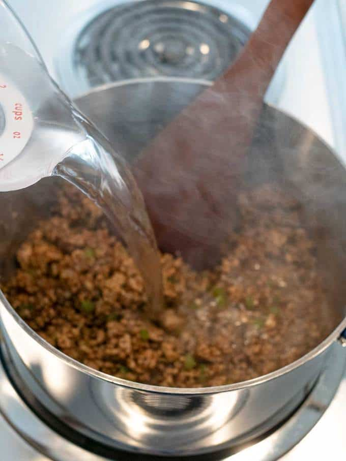 Adding Water to make Cajun Pork Boulettes