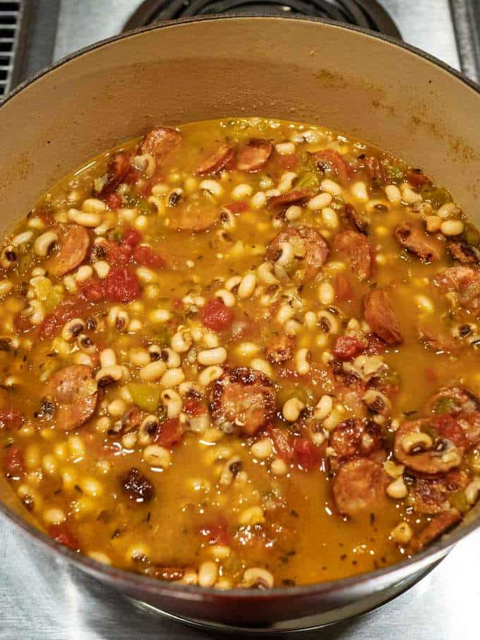 Cooked Black Eyed Peas with Andouille Sausage