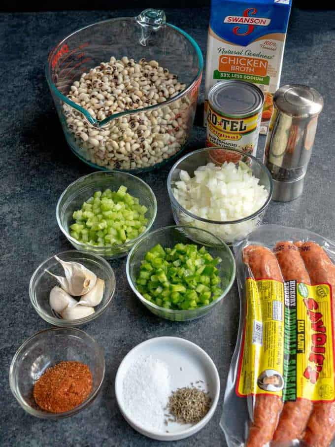 Ingredients for Southern Black Eyed Peas with Andouille Sausage