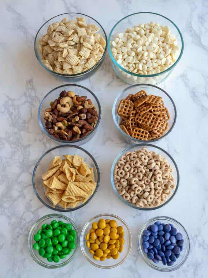 Ingredients for Mardi Gras Snack Mix