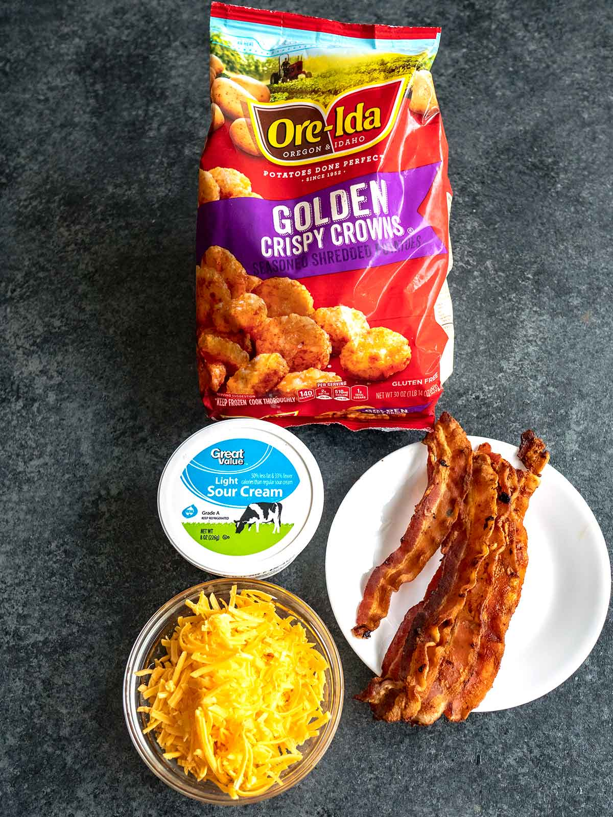 Ingredients for Loaded Crispy Crown Cups