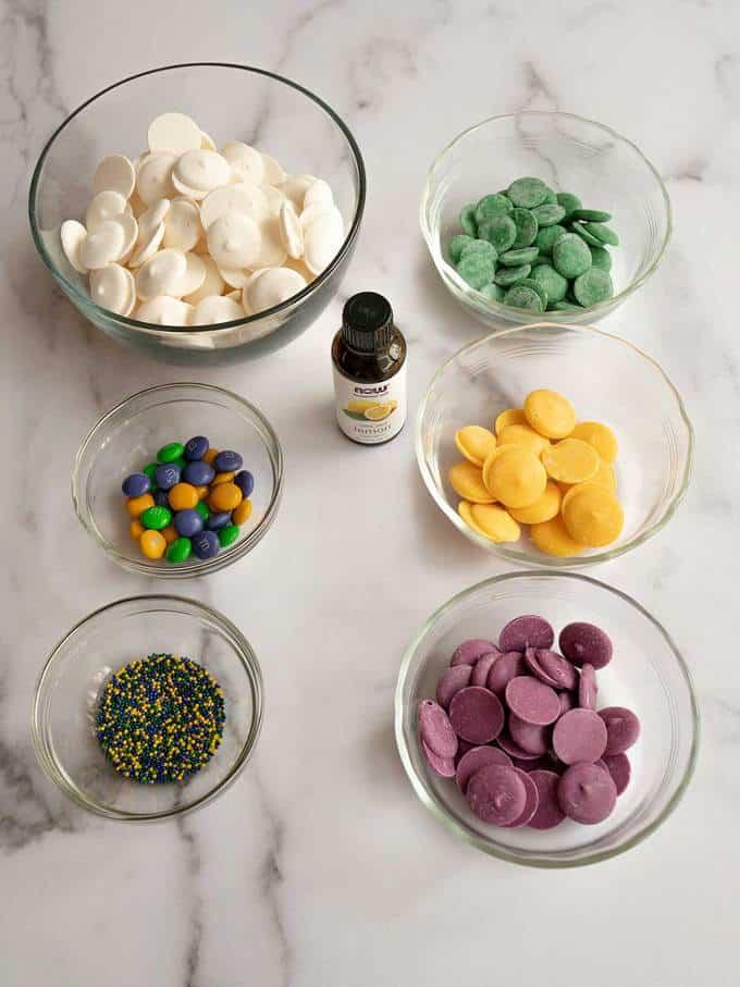 Ingredients for Mardi Gras Swirled Lemon Bark