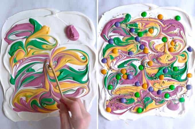 Making Mardi Gras Swirled Lemon Bark