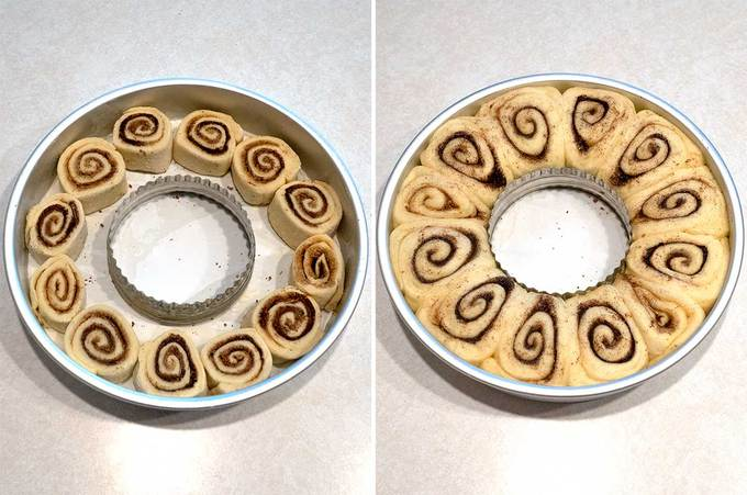 Cinnamon Rolls Before and After Rise