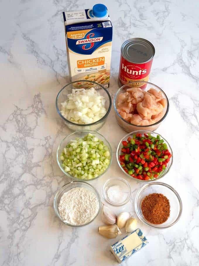 Ingredients for Chicken Etouffee
