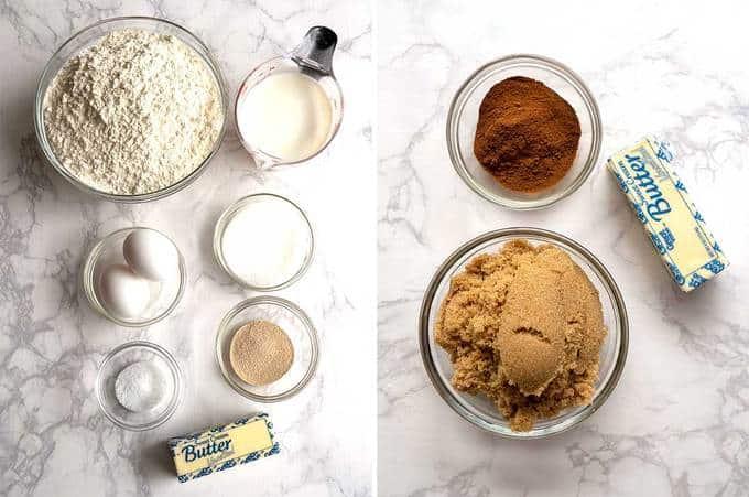 Ingredients for Mardi Gras Cinnamon Roll King Cake