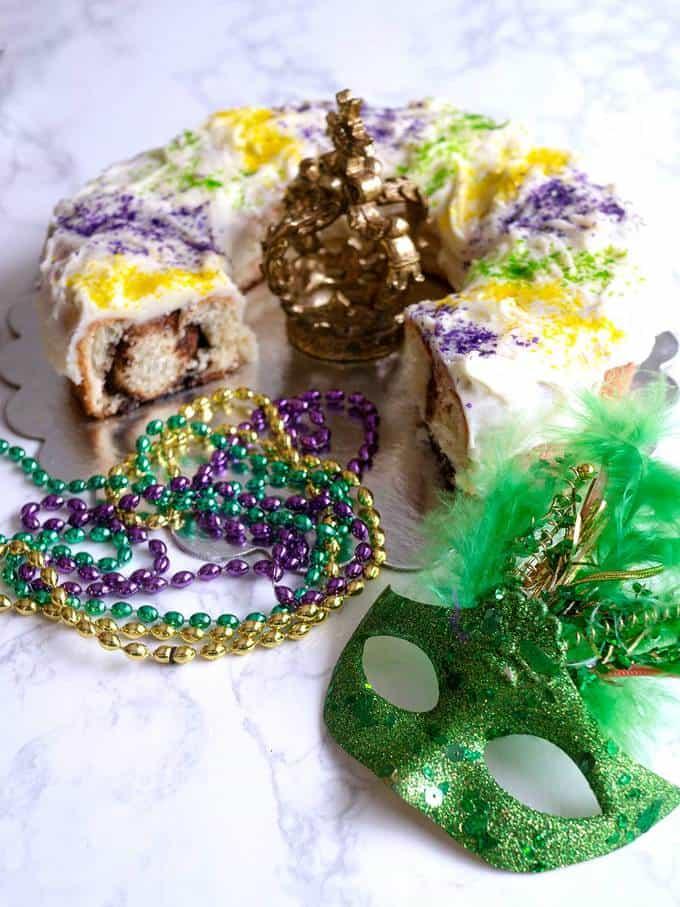 Mardi Cinnamon Roll Gras King Cake